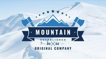 Journey Offer with Mountains Icon in Blue