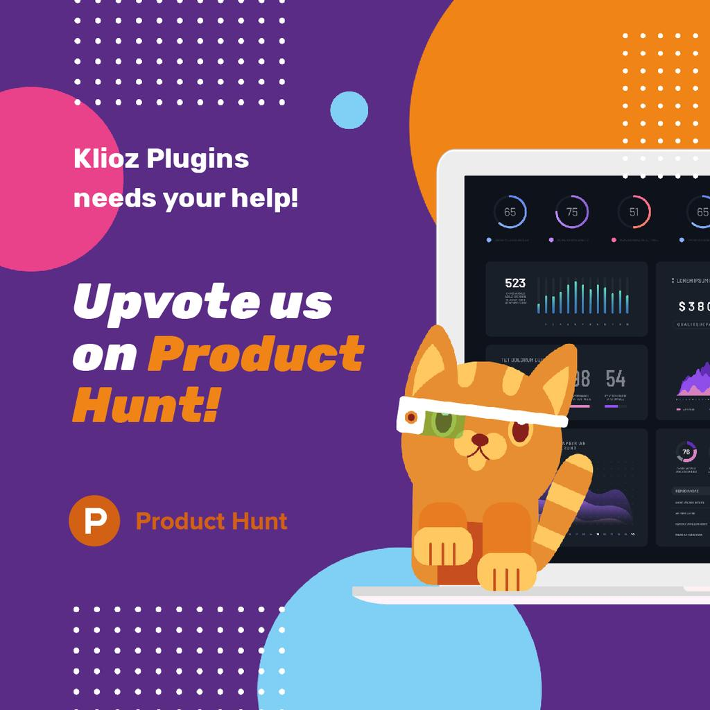 Product Hunt App Stats on Screen | Square Video Template — ein Design erstellen