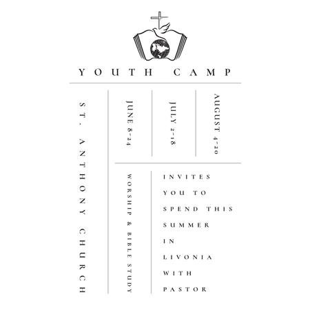 Template di design Youth religion camp Promotion in white Instagram AD