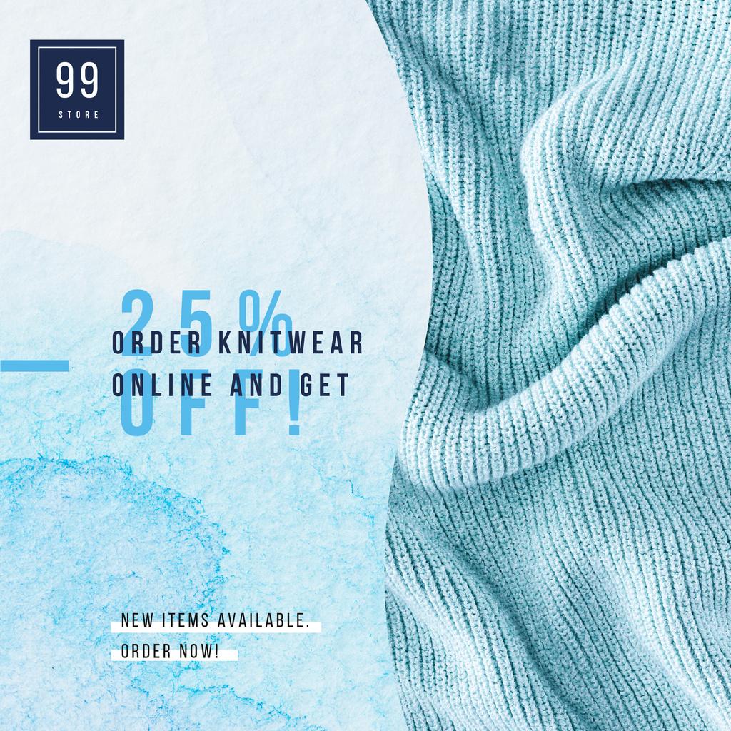 Knitted blue blanket for sale — Modelo de projeto
