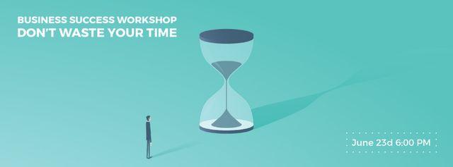 Businessman looking at giant hourglass Facebook Video cover – шаблон для дизайну