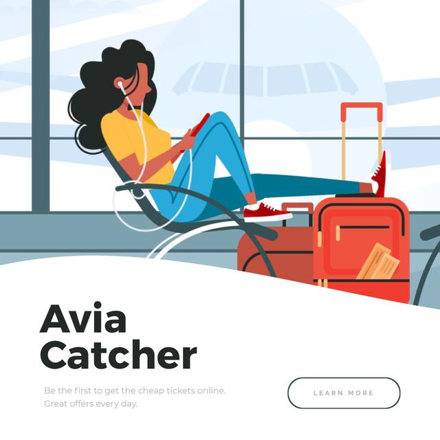 Woman listening to music in Airport Animated Post – шаблон для дизайна