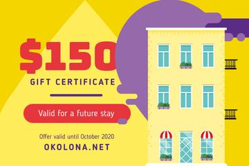 Hotel Offer Simple Building Facade | Gift Certificate Template