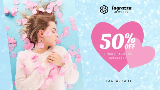 Szablon projektu Jewelry Sale Woman in Pink Hearts Full HD video