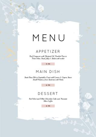 Ontwerpsjabloon van Menu van Restaurant Course in blue