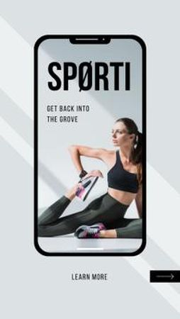 Ontwerpsjabloon van Mobile Presentation van Sports App promotion with Woman training
