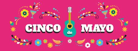 Plantilla de diseño de Cinco de Mayo holiday Facebook cover