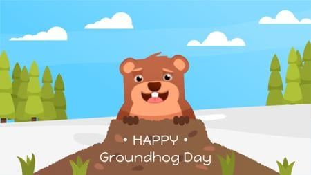 Cute funny animal on Groundhog Day Full HD video Modelo de Design