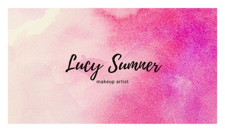 Makeup Artist Services with Colorful Paint Blots Business card – шаблон для дизайну
