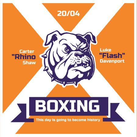 Boxing match Announcement with Angry Dog Instagramデザインテンプレート