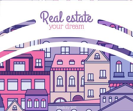 Plantilla de diseño de Real Estate Ad with Town in pink Facebook