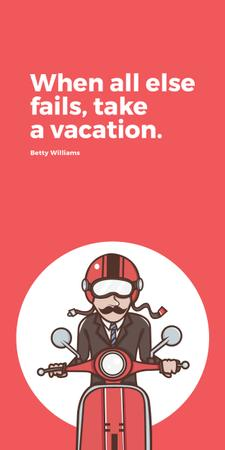 Plantilla de diseño de Vacation Quote Man on Motorbike in Red Graphic