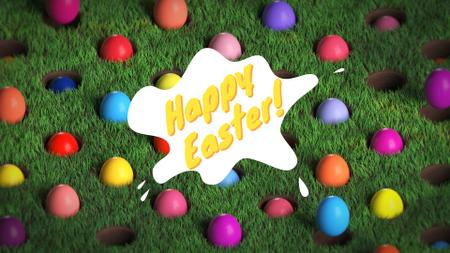 Colored Easter eggs on green grass Full HD video Modelo de Design