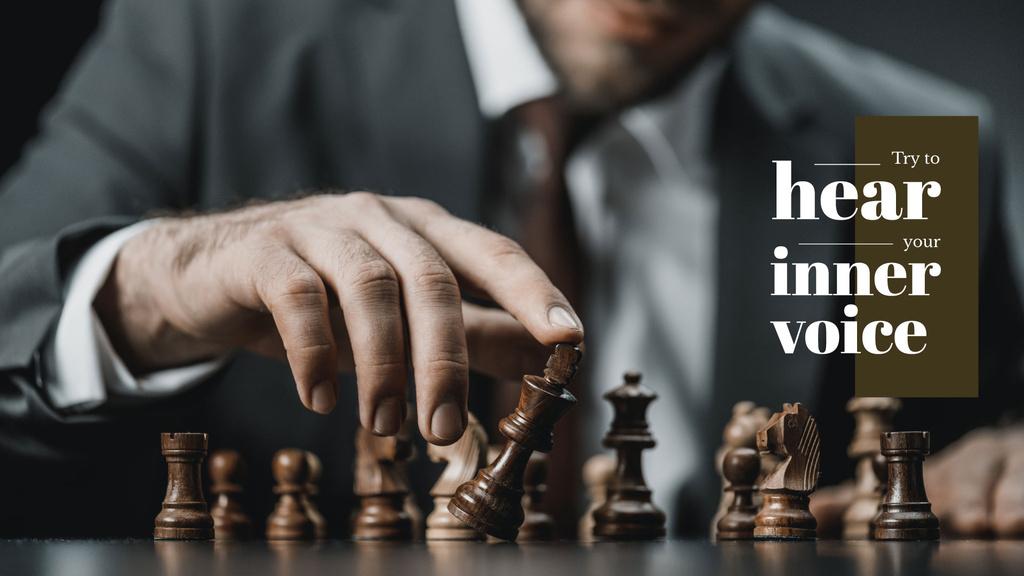 Man tilting chess piece of king — Create a Design