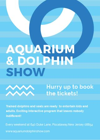 Plantilla de diseño de Aquarium Dolphin show invitation in blue Flayer