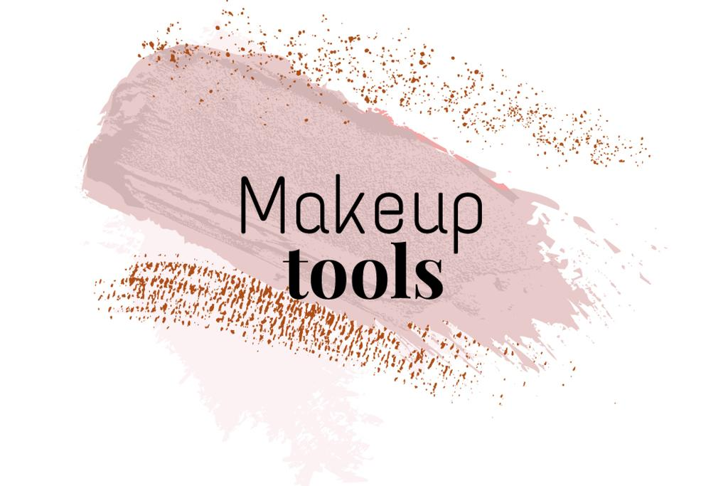 Makeup tools ad with pink smudges — Crear un diseño