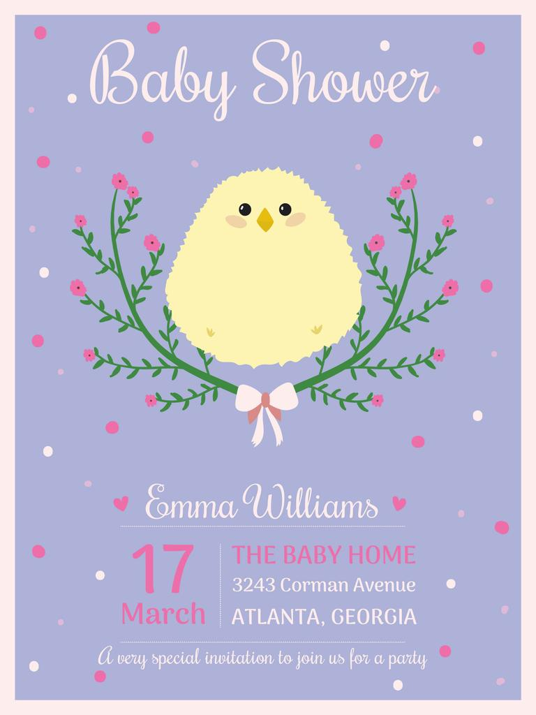 Baby Shower Invitation With Cute Chick Poster Us Template Design