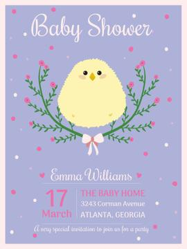 Baby shower invitation with cute chick