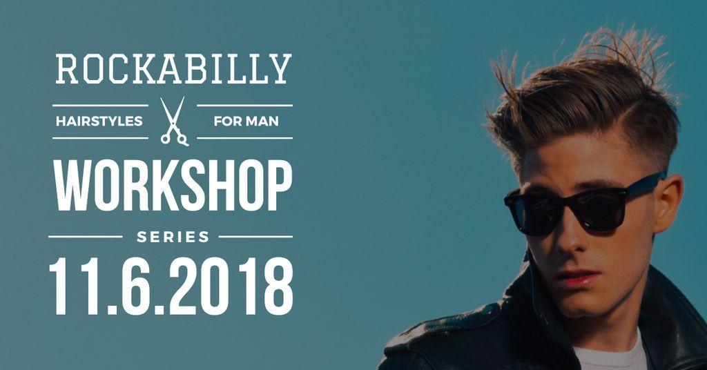 Rockabilly hairstyles workshop poster — Modelo de projeto