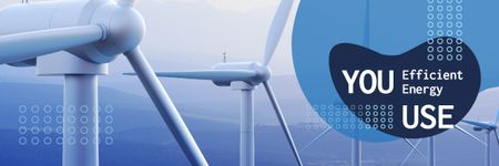 Template di design Conserve Energy with Wind Turbine in Blue Email header