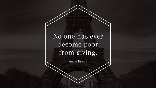 Charity Quote on Eiffel Tower view Title – шаблон для дизайна