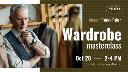 Plantilla de diseño de Tailoring Masterclass Man looking at bespoke Suit FB event cover