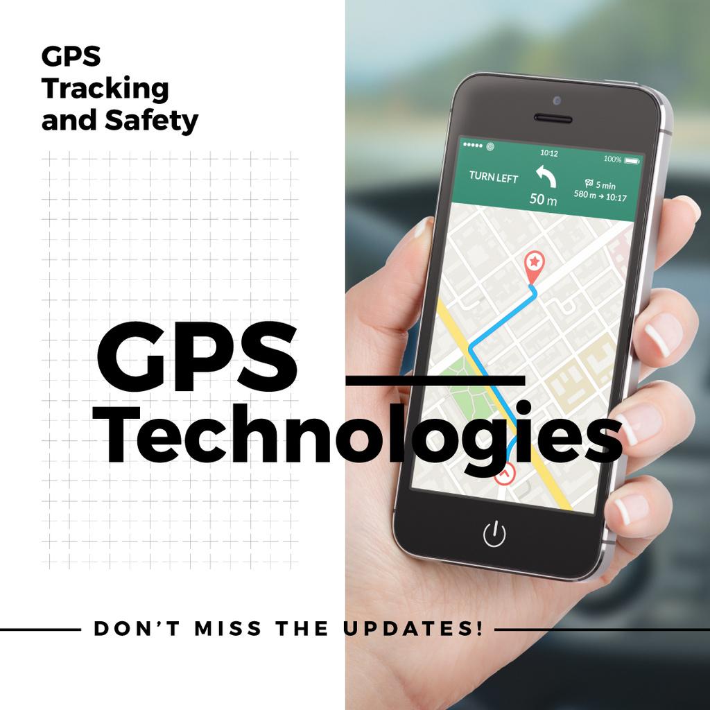 GPS technologies Ad with Map mark on Phone — Створити дизайн