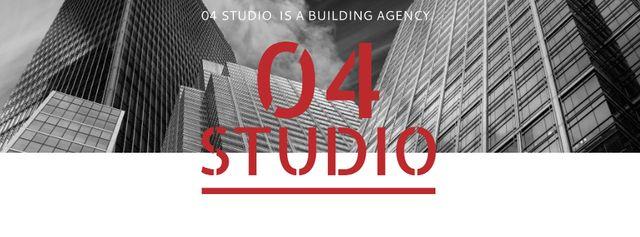 Building Agency Ad with Modern Skyscrapers Facebook cover Modelo de Design