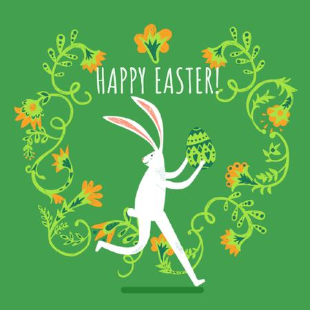 Easter Bunny Running With Colored Egg Animated Post Tasarım Şablonu