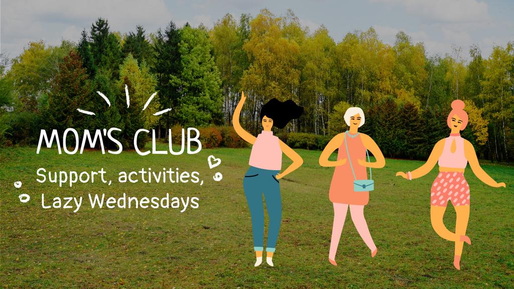 Mom's Club Invitation Happy Dancing Women — ein Design erstellen