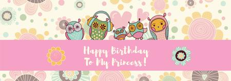 Birthday Invitation with Party Owls Tumblr Tasarım Şablonu