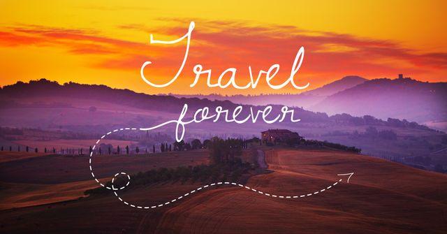 Plantilla de diseño de Motivational travel quote with nature wiew Facebook AD