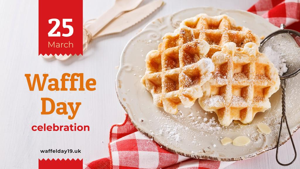 Waffle Day Offer Hot Delicious Waffles | Facebook Event Cover Template — Créer un visuel