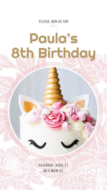 Birthday Cake decorated as Unicorn Instagram Story Tasarım Şablonu