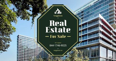 Template di design Commercial Real Estate Glass Building Facebook AD