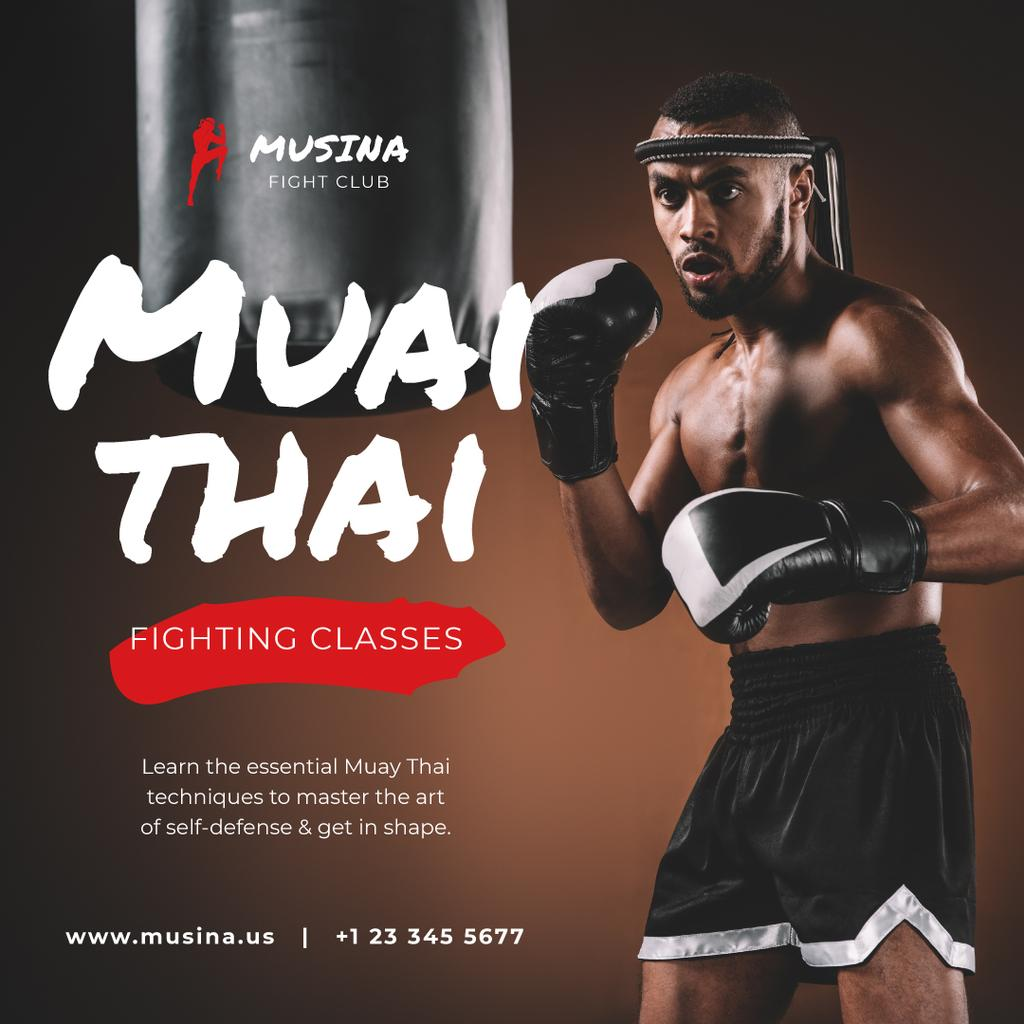 Gym Ticket Offer Man in Boxing Gloves — ein Design erstellen