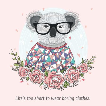Modèle de visuel Fashion quote with Koala in Flowers - Instagram AD