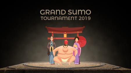 Sumo Tournament Fighter with His Supporters Full HD videoデザインテンプレート