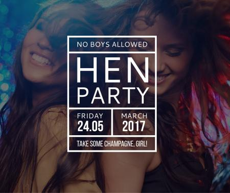 Hen Party invitation with Girls Dancing Facebook Modelo de Design