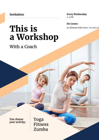 Template di design Sports Studio Ad with Women Practicing Yoga Poster