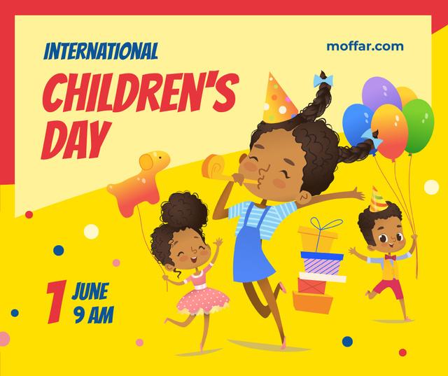 Ontwerpsjabloon van Facebook van Kids having fun at Children's Day party