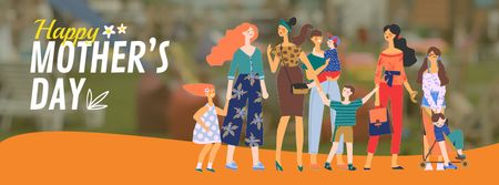 Diverse moms with their kids on Mother's Day Facebook Video cover Modelo de Design
