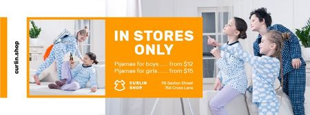 Plantilla de diseño de Pajama Store Ad with Happy Kids at Home Facebook cover