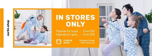 Plantilla de diseño de Pajama Store Ad with Happy Kids at Home Facebook cover