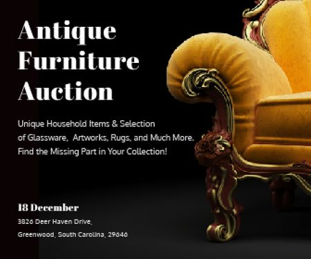Ontwerpsjabloon van Large Rectangle van Antique Furniture Auction Luxury Yellow Armchair