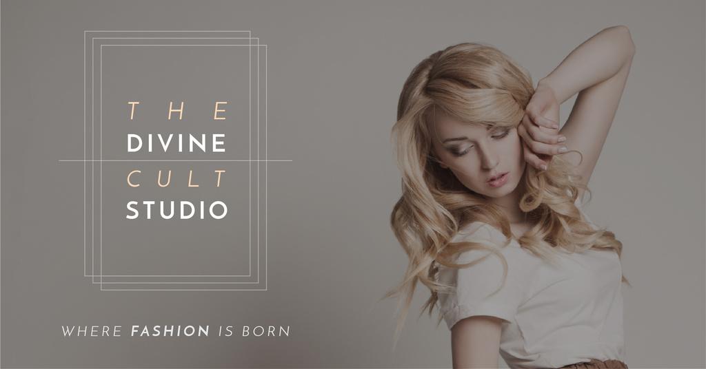 Fashion Studio Ad with Attractive Blonde — ein Design erstellen