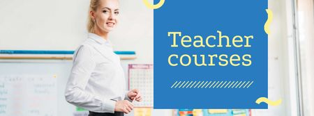 Smiling Teacher in classroom Facebook cover Modelo de Design