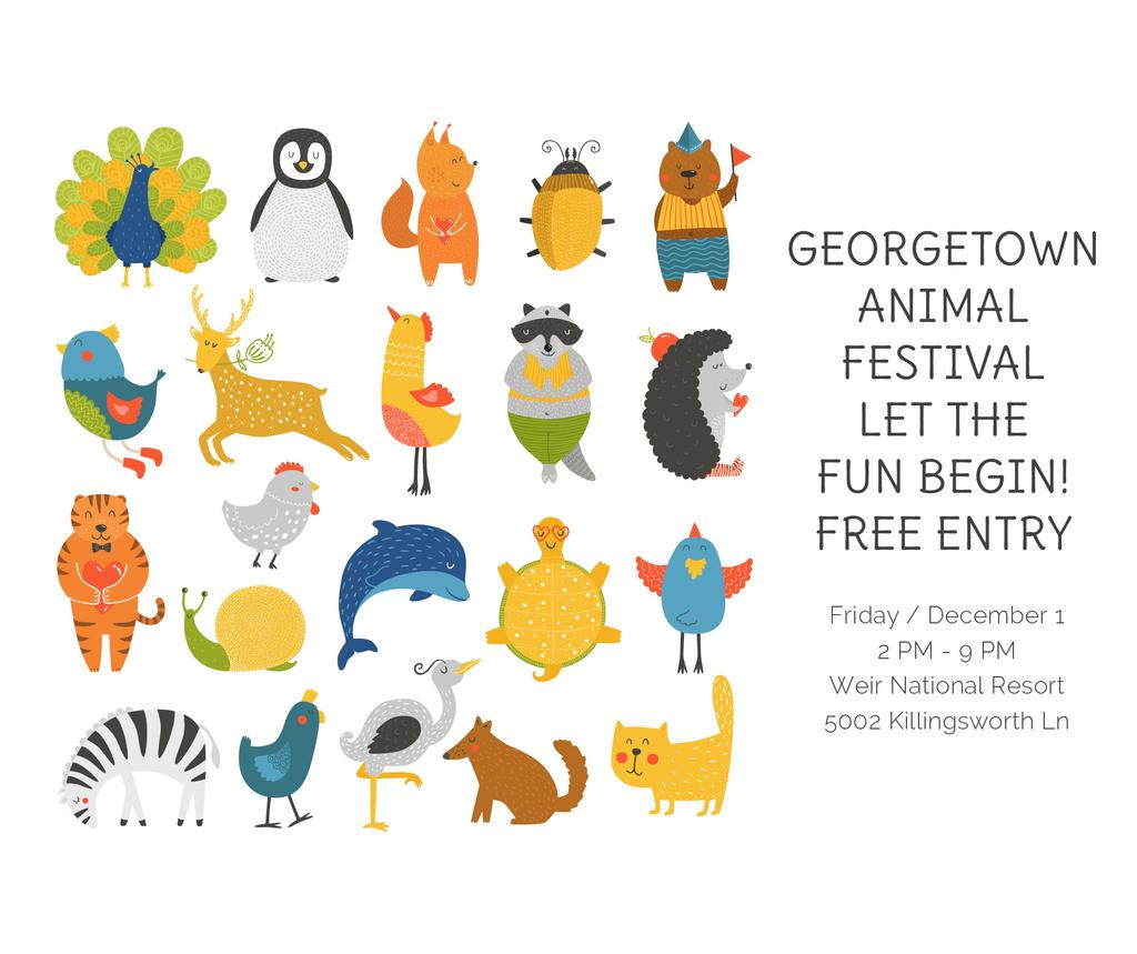 Animal Festival Announcement with Animals Icons — Créer un visuel