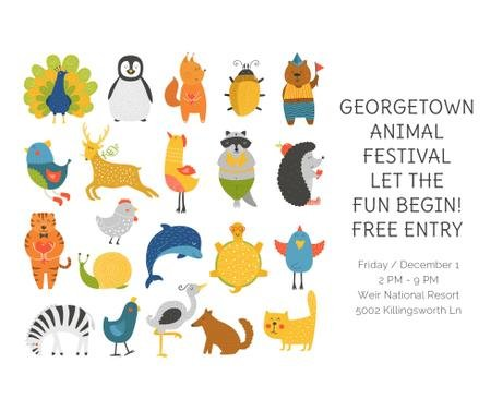 Animal Festival Announcement with Animals Icons Facebook Design Template