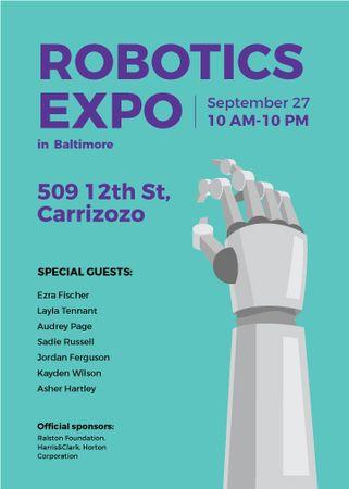 Plantilla de diseño de Android Robot hand for expo Invitation